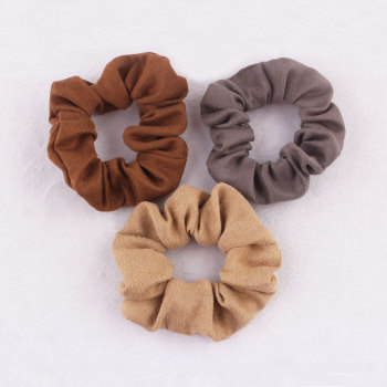 Women color effortless faux suede fabric ponytail holder twister hair scrunchie