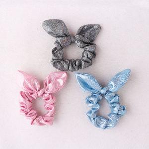 Shiny effortless bunny ear hair scrunchies for gymnasts dance hair scrunchies