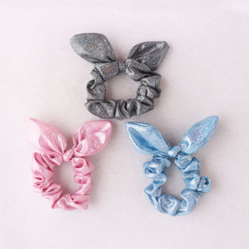 Shiny effortless bunny ear hair scrunchies for gymnasts dance hair scrunchies