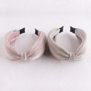 Women fashion silver gilded plicated bowknot hair band