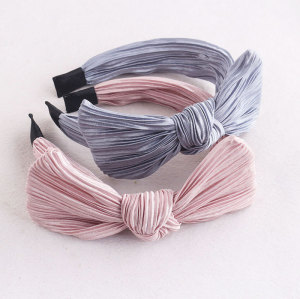 Nicest girl large gilded plicated bow hair band chinese company