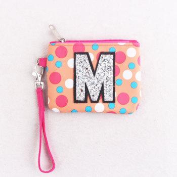 Polka dots child Zipper Waterproof Small Change Bag Coin Purse Wrist Clutch Bag