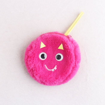 Smile face circinal magenta change bag faux rabbit fur holder wrist coin bag girl/child