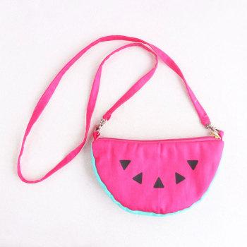 Lovely girl canva fruit wallet coin purse bag watermelon zipper handbag fruit messenger bag