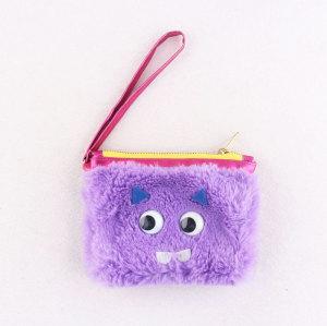 Magenta girl holder change bag child wallet bag faux fur money coin bag with eyes