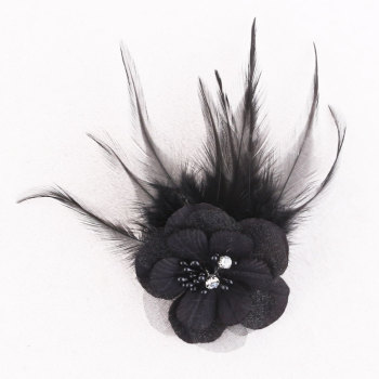 Black silk flower feather hair accessories pheasant feather brooch for party/banquet