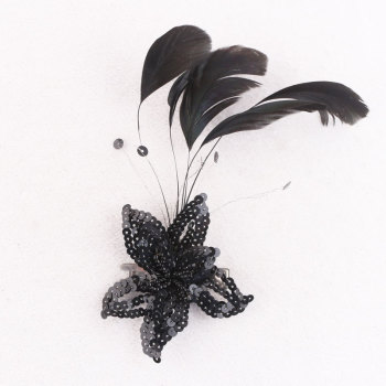 Wedding party peacock feather hair clips black sequins flower feather hairpin