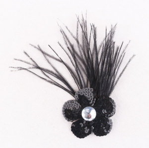 Parties ostrich feather hair clip with brooch sequins flower feather brooch