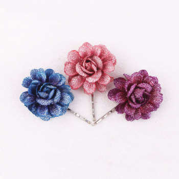 Vintage silver shining artificial daisy flower hair bobby pin for girls