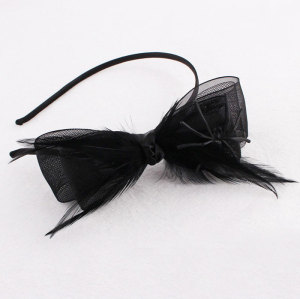 Halloween headband mesh ribbon hair bows spider hair band with feather