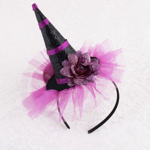 Halloween hat headband witches hat tall witches hat hair band with glitter flower