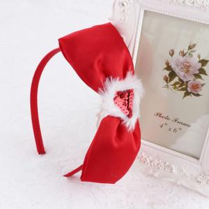Handmade Christmas hair accessory big red hair bow headband for girls
