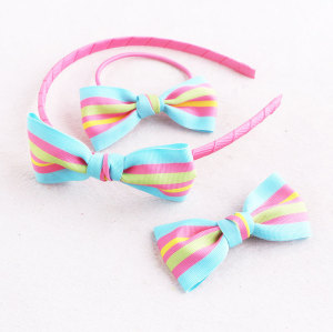 Sweet striped ribbon bow hair band set bow hair tie bow hair clip for kids