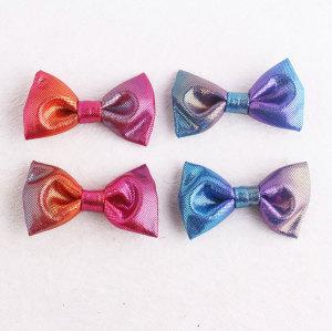 Small shining gymnastics mini bow hair clips for girl gymnast high bun