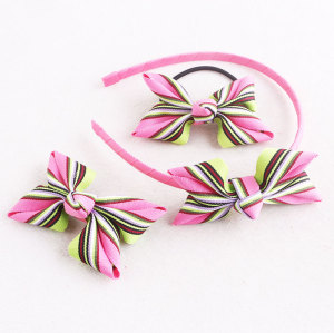 Colorful striped ribbon bow hair band hair bow clip knot bow hair tie set