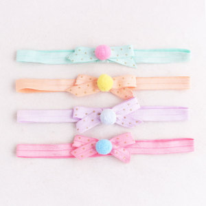 Candy colors high elastic headband pom pom bowknot headband for infant