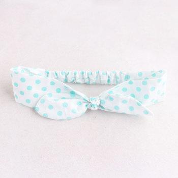 Green polka dots knot tie turban headband adjustable knotted bow hair band
