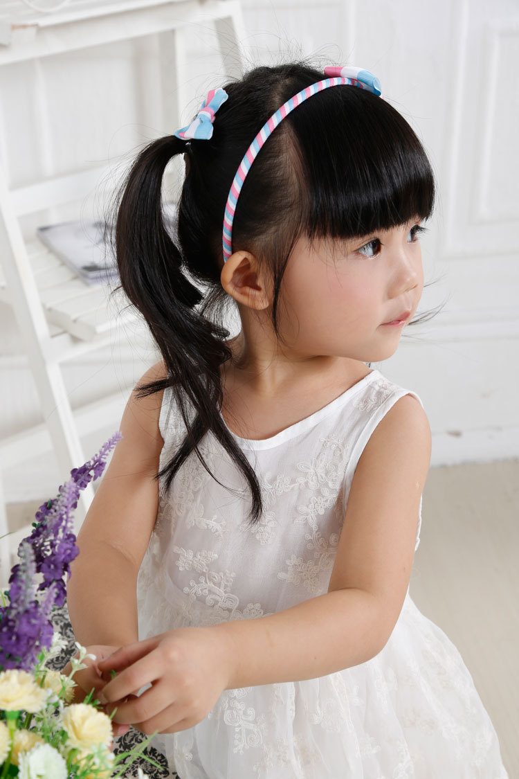 striped ribbon bow hair clip