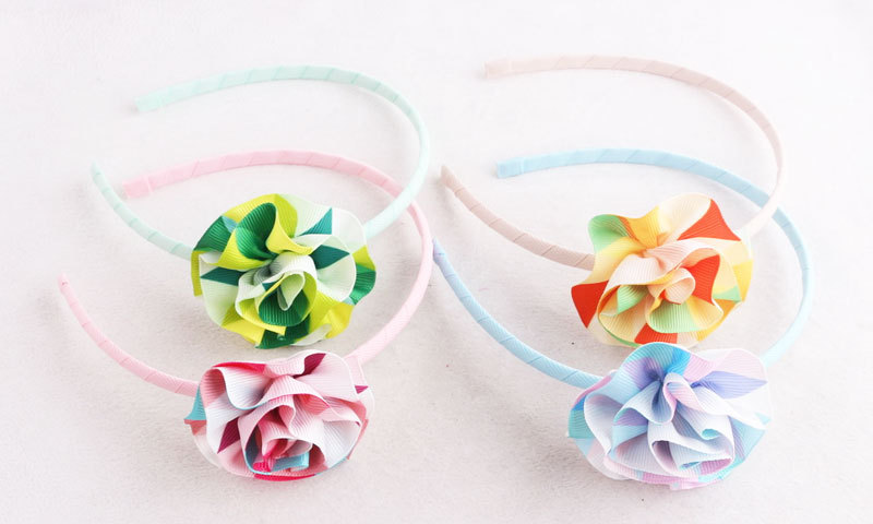 ribbon flower hair band for girl baby