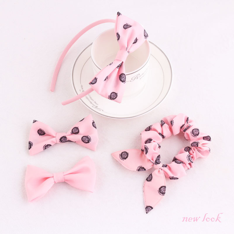 pink knot ear hair scrunchie bow hair band and hair clip