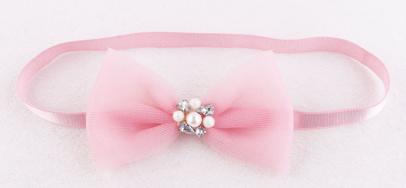 pink crystal veil bow elastic headband for babies girl