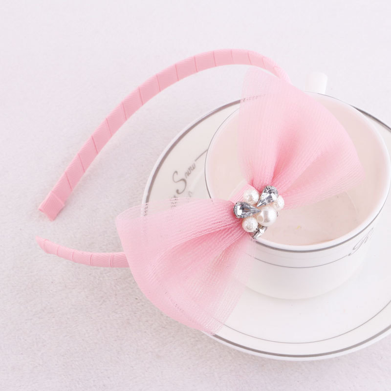 pink mesh bow alice band for girls