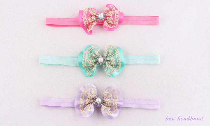 pretty ribbon bow with lace headband