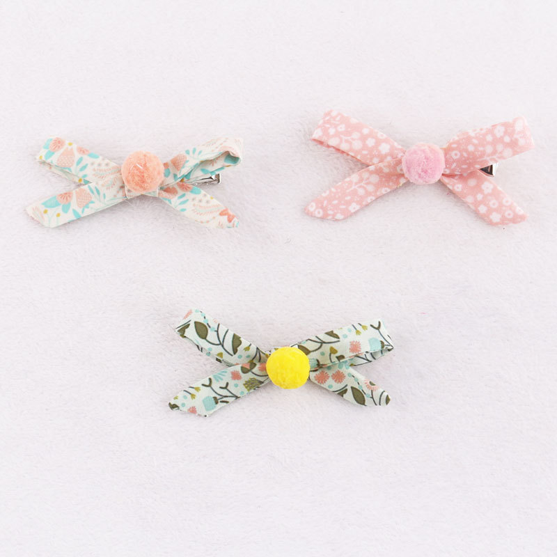 pom pom bowknot hair clips for baby