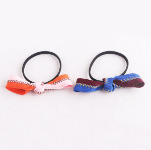High quality grosgrain ribbon knot bow ponytail holder hair tie for child
