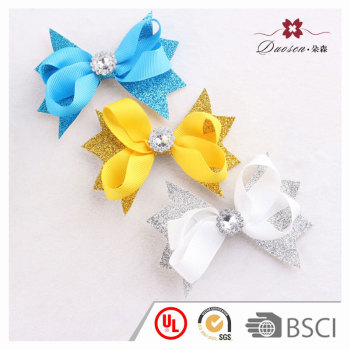 3.5'' Disney baby girl hair bow accessory shining glitter ribbon bow hair clip for boutique