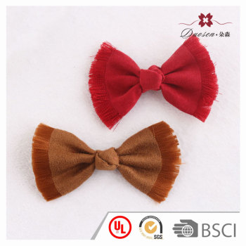 Red/brown tassels micro suede bow knot hair clip for women