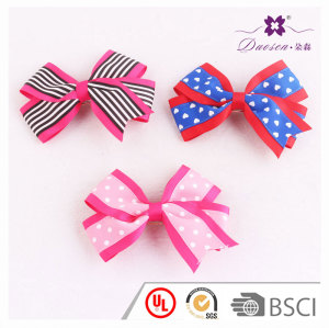 4.7 inch hot sale kid polka dots striped heart pattern ribbon bow barrette for school hairstyle