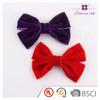Boutique women hair medium velvet ribbon bow hair clip for Christmas matching