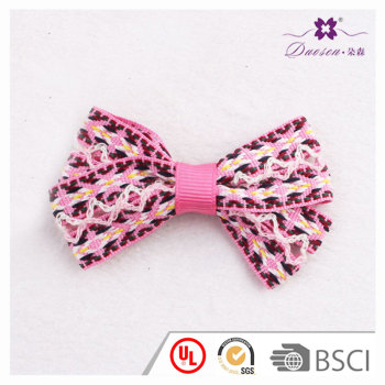 Boho chic newest small pink ribbon bow hair clip for women