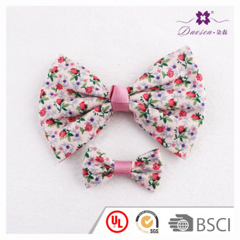 Cotton purple floral bow hair clip mini hair bow set for fifteen girl teenagers