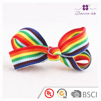 3.5 inch fashion children striped rainbow hair bow ribbon hair clips for pigtails