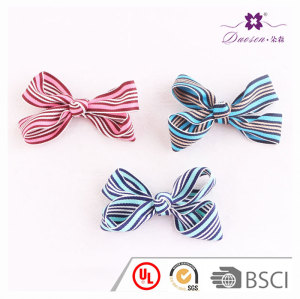 4 inch affordable lovely striped ribbon bow hair clip with alligator for babies girl