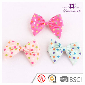 3.5 inch Pretty colors cotton small polka dot bowknot barrette hair clip for children