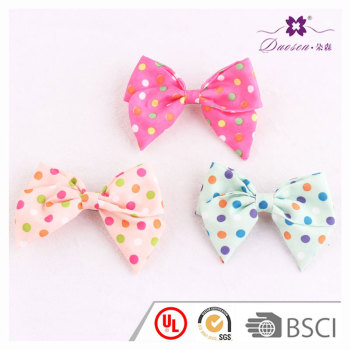 3.5 inch Pretty colors cotton small polka dot bowknot barrette hair clip for children