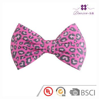 Wholesale fushia jersey leopard print bow tie hair barrette for women