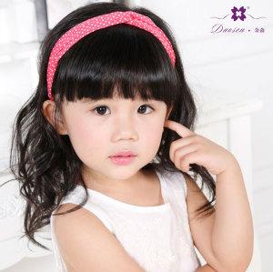 Children sweet red polka dot headband knot tie head piece for girl kid child hair holder