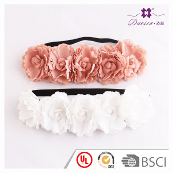 DIY idea wholesale elastic white coral artificial oversize flower headband for party or wedding