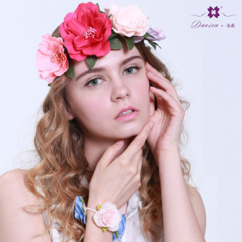 Large romantic rose flower headband crown for girl women hairstyle match