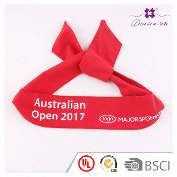 Logo Customized Spandex Stretchy Tie Back Headband For Tennis Running Basketball Outdoors