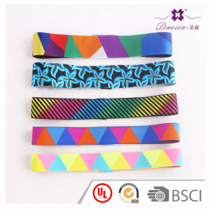 Colorful Geometry Striped Printed Women Men yoga hair bands girls sport Anti-slip Elastic band