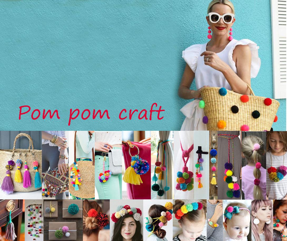yarn pom pom keychain