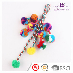 Boho pendant cotton yarn bell pom pom accessory keychain and lanyards for bag car keyring