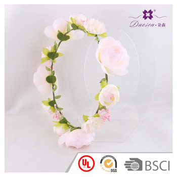 Comfy wedding floral pink roses flower headband crown for flower girls