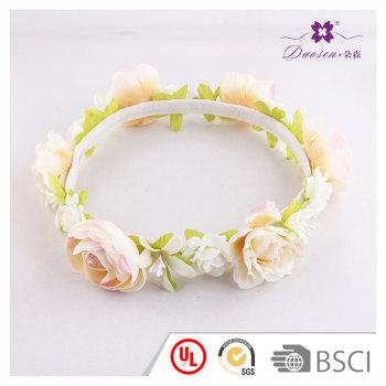 Flower girls artificial cream roses flower headband crown wedding floral tiara