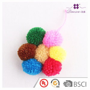 Trending Gift Flower Shape Yarn Pom Pom Key Fob Keychain Bag Charm For Girls